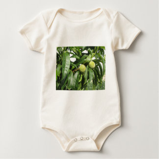 Two unripe green peaches hanging on a peach tree baby bodysuit
