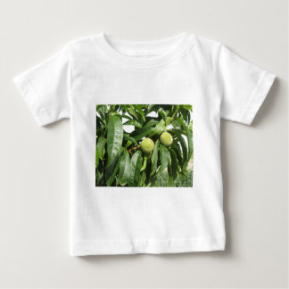 Two unripe green peaches hanging on a peach tree baby T-Shirt