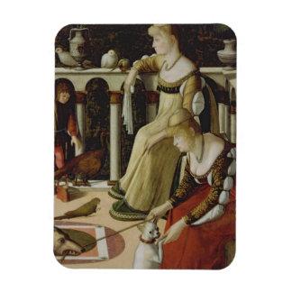 Two Venetian Ladies (panel) Rectangular Photo Magnet