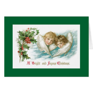 Two Victorian Children Christmas Angels Card