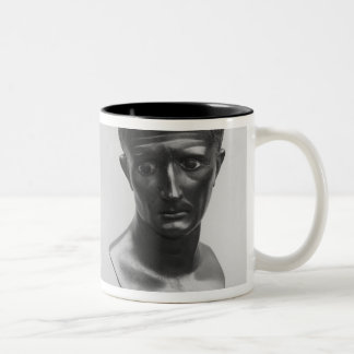 Two views of a bust of Emperor Augustus Two-Tone Coffee Mug