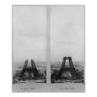 Two views of the construction of the Eiffel Poster