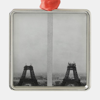 Two views of the construction of the Eiffel Silver-Colored Square Ornament