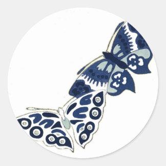 Two Vintage Blue Butterflies Classic Round Sticker