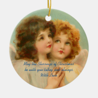 Two Vintage Christmas Angels Round Ceramic Ornament