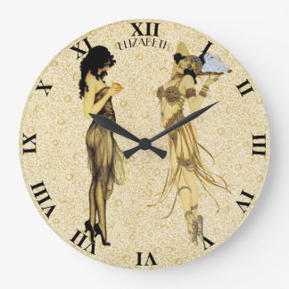 Two Vintage Retro Ladies Art Nouveau Floral Style Large Clock