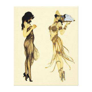 Two Vintage Retro Ladies Art Nouveau Style Canvas Print