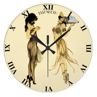 Two Vintage Retro Ladies Art Nouveau Style Large Clock