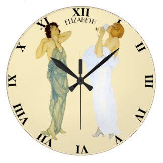 Two Vintage Retro Ladies Art Nouveau Style Part 2 Large Clock