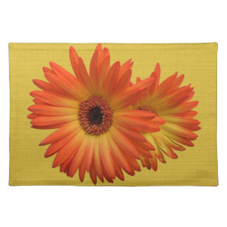 Two Vivid Orange and Yellow Gerbera Daisies Place Mats