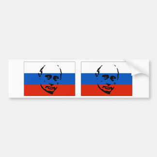 TWO Vladimir Putin/Russian Flag Bumper Sticker
