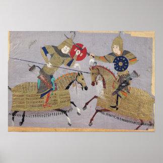 Two warriors on horseback in combat poster