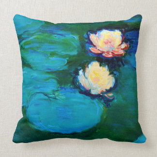 Two Water Lily Flowers Claude Monet Fine Art Throw Pillow