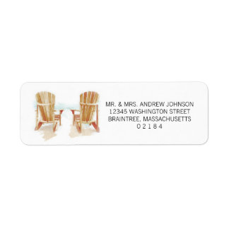 Two Watercolor Adirondack Beach Chairs Return Address Label