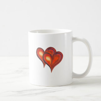 Two watercolor hearts isolated on white coffee mug