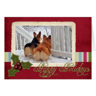 Two Welsh Corgis in the Snow with Holiday Frame Card