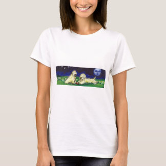 Two wheatens under the moon T-Shirt