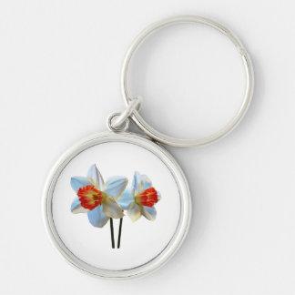 Two White And Orange Daffodils Keychain