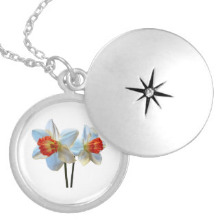 Two White And Orange Daffodils Locket Necklace