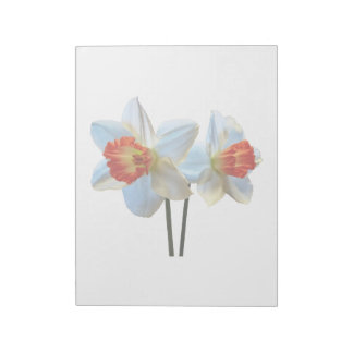 Two White And Orange Daffodils Notepad