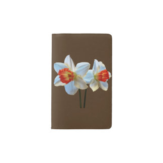 Two White And Orange Daffodils Pocket Moleskine Notebook