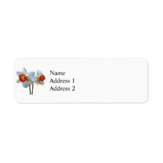 Two White And Orange Daffodils Return Address Label