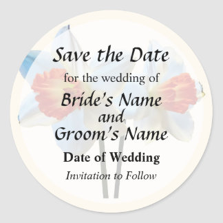 Two White And Orange Daffodils Save the Date Classic Round Sticker