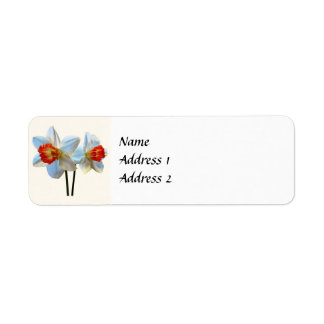 Two White And Orange Daffodils Save the Date Return Address Label