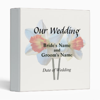 Two White And Orange Daffodils Wedding Supplies 3 Ring Binders