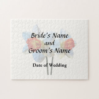 Two White And Orange Daffodils Wedding Supplies Jigsaw Puzzle