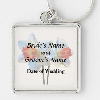 Two White And Orange Daffodils Wedding Supplies Keychain