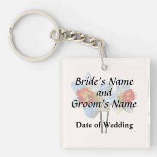 Two White And Orange Daffodils Wedding Supplies Keychain