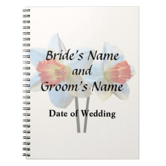 Two White And Orange Daffodils Wedding Supplies Note Book