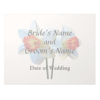 Two White And Orange Daffodils Wedding Supplies Notepad