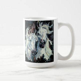 Two White Arabians Classic White Mug. Coffee Mug