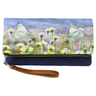 Two White Butterflies in a Yellow Flower Meadow Clutch