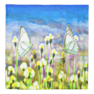 Two White Butterflies in a Yellow Flower Meadow Duvet Cover