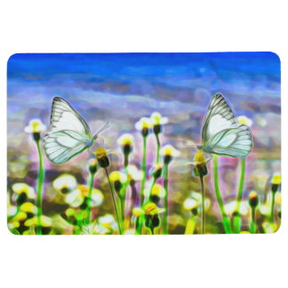 Two White Butterflies in a Yellow Flower Meadow Floor Mat