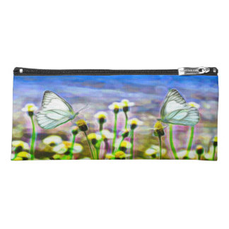Two White Butterflies in a Yellow Flower Meadow Pencil Case