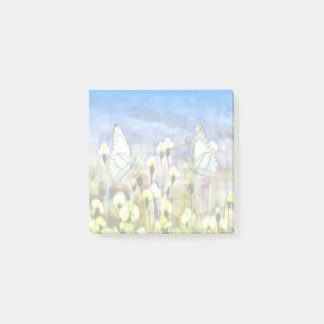 Two White Butterflies in a Yellow Flower Meadow Post-it Notes
