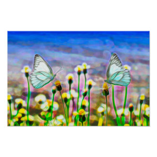 Two White Butterflies in a Yellow Flower Meadow Poster