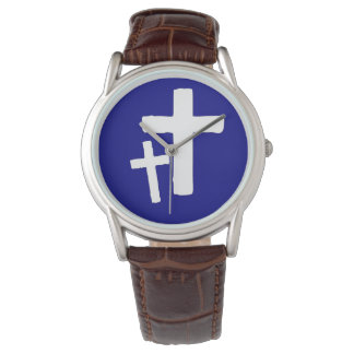 Two White Cross Symbols On Blue Mens Watch