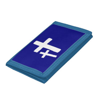 Two White Cross Symbols On Blue Wallet
