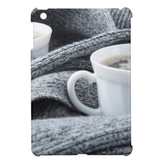 Two white cups of coffee wrapped in scarf case for the iPad mini