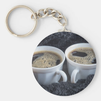 Two white cups with black coffee and foam basic round button keychain