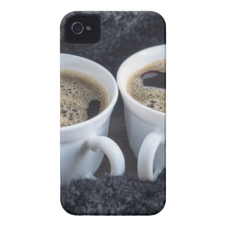 Two white cups with black coffee and foam Case-Mate iPhone 4 cases