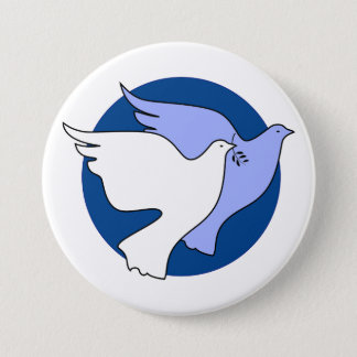 Two white doves for peace 3 inch round button