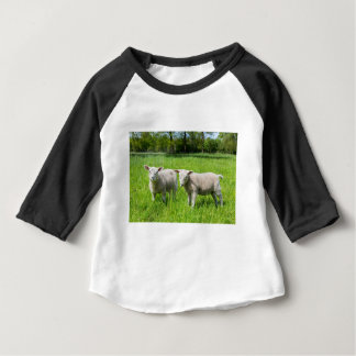 Two white dutch sheep in green spring meadow baby T-Shirt