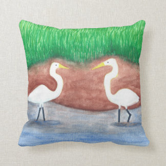 Two White Egrets Wading in Water Pillows