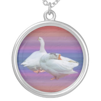 two white geese in color  background silver plated necklace